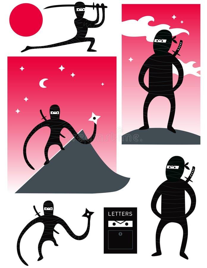 Vektoruppsättning av gulliga ninjas vektor illustrationer