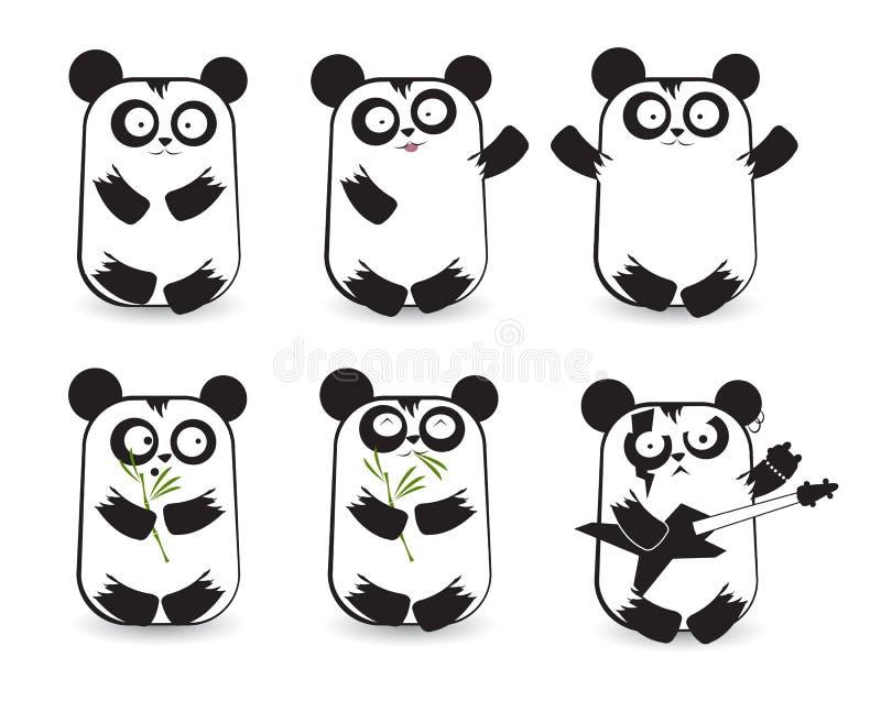 Vektoruppsättning av gulliga pandas stock illustrationer