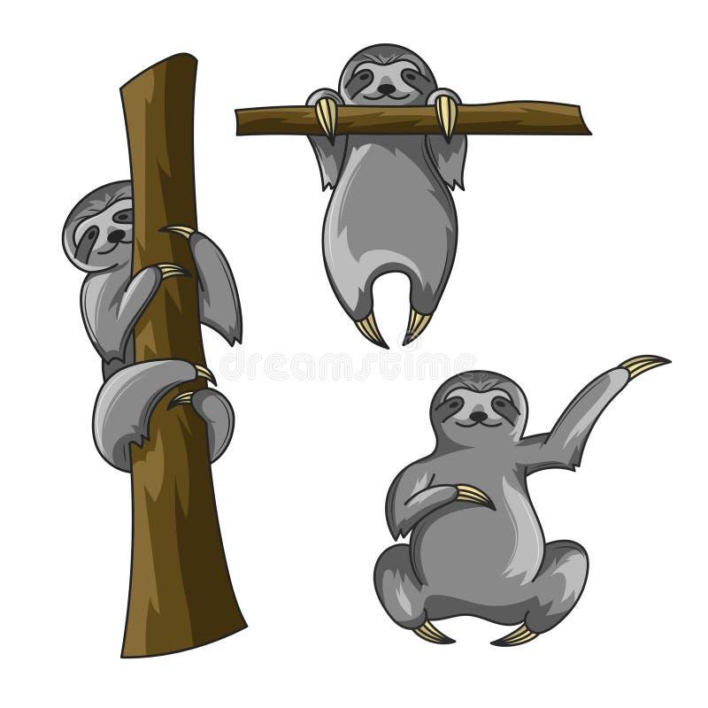 Vektoruppsättning av gulliga sengångare Tecknad filmstil Sengångaretryck för t-skjorta stock illustrationer
