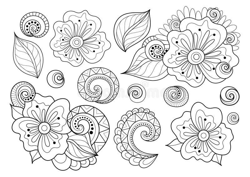 Vektoruppsättning av härliga monokromma beståndsdelar för blom- design med kryp royaltyfri illustrationer