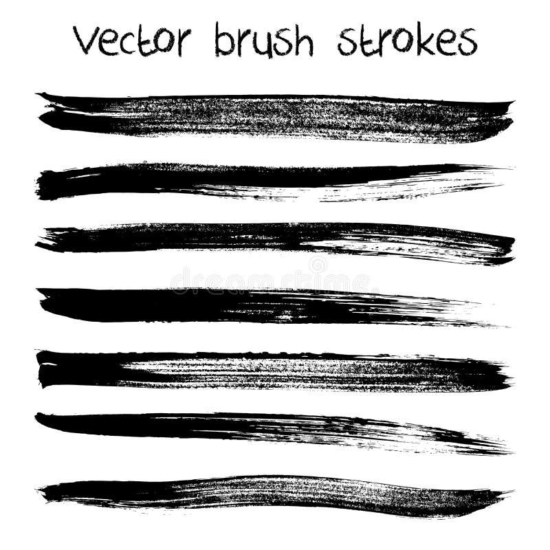 Vektoruppsättning av hand drog abstrakta borsteslaglängder royaltyfri illustrationer