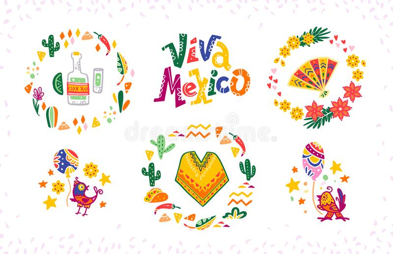 Vektoruppsättning av hand drog dekorativa ordningar med traditionella mexicanska symboler och beståndsdelar - Mexico bokstäver, d royaltyfri illustrationer