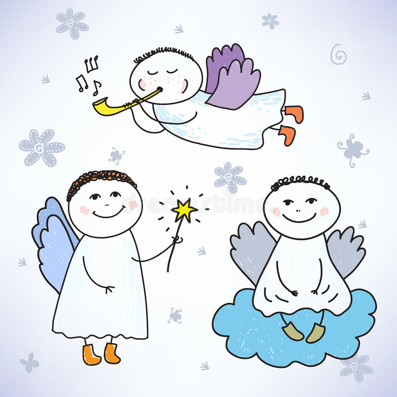 Vektoruppsättning av hand drog färgrika gulliga änglar vektor illustrationer
