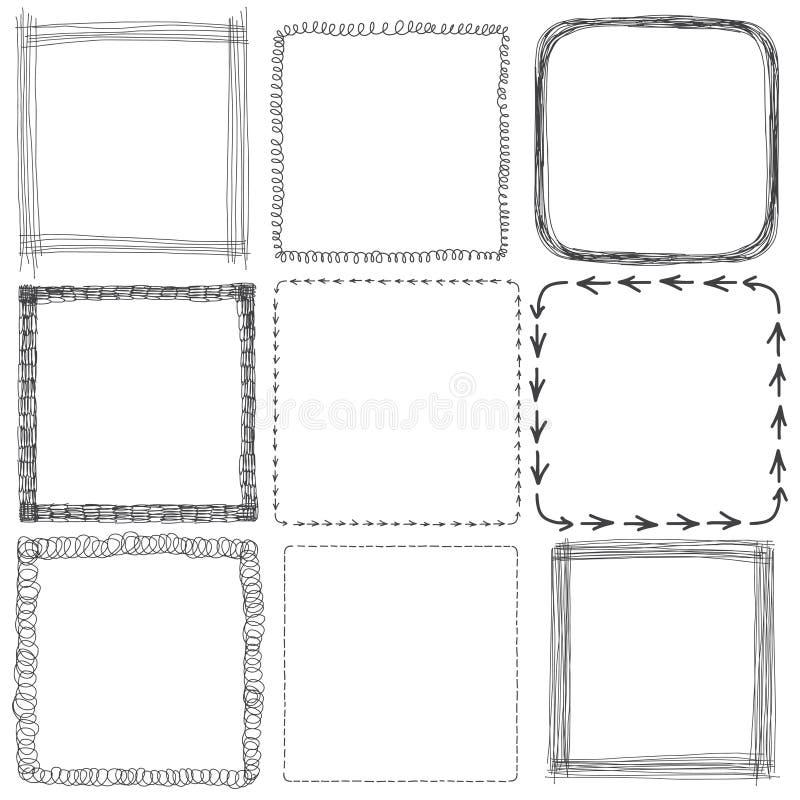 Vektoruppsättning av hand drog fyrkantramar Skissa beståndsdelar för dig vektor illustrationer