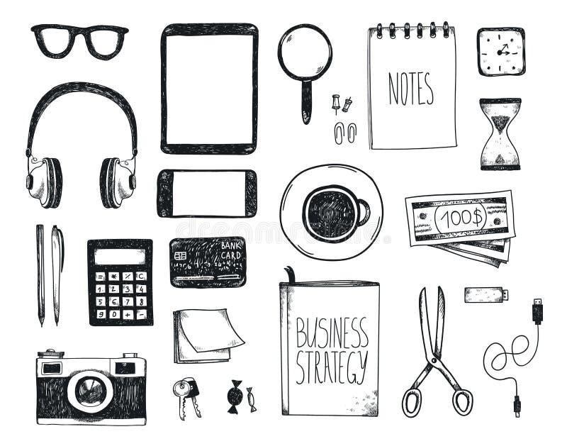 Vektoruppsättning av hand drog kontorshjälpmedel Frilansa hjälpmedel för att göra affär online-, entreprenör åtlöje upp, bästa si stock illustrationer
