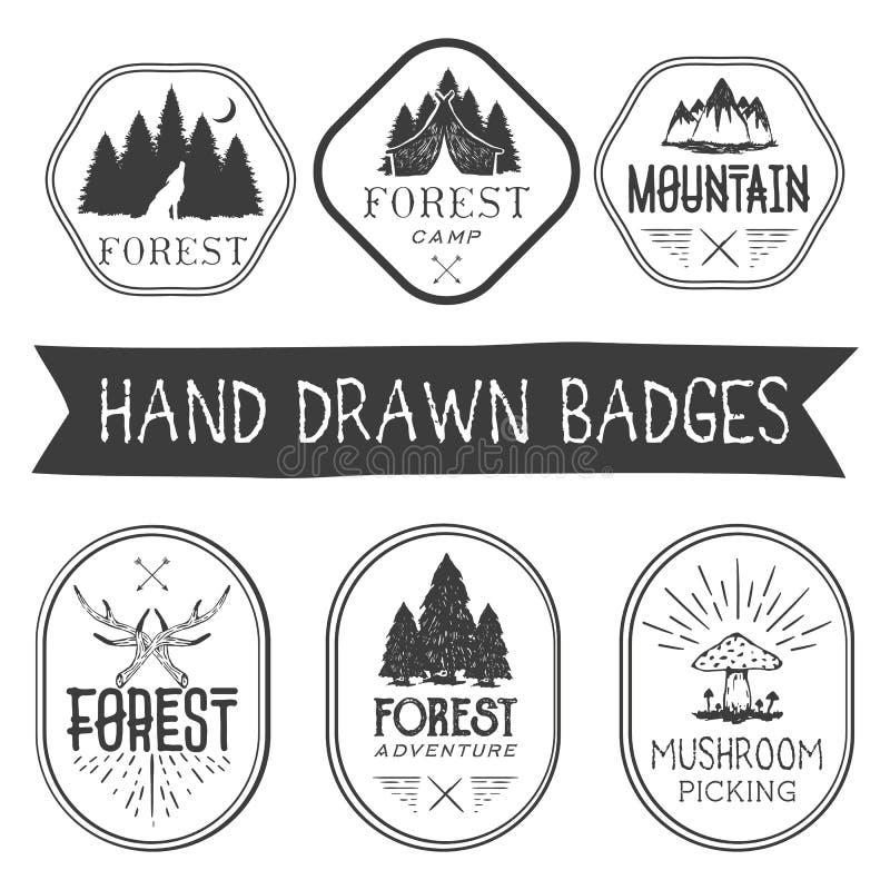 Vektoruppsättning av hand drog skoglägeretiketter i tappningstil Logotypmallillustration med trädet och berg vektor illustrationer