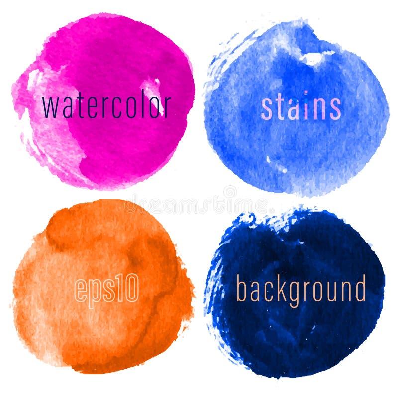 Vektoruppsättning av hand drog vattenfärgcirklar för bakgrunder Färgrik konstnärlig hand drog bakgrunder Hand drog fläckar vektor illustrationer