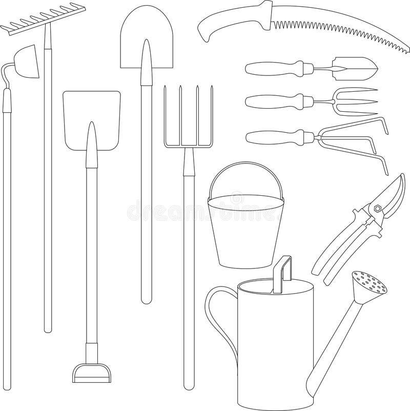 Vektoruppsättning av handhjälpmedel för att arbeta i trädgården royaltyfri illustrationer
