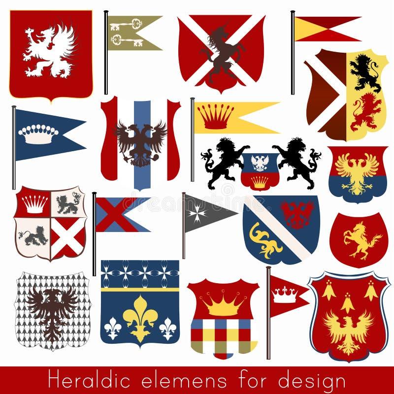Vektoruppsättning av heraldiska beståndsdelar för tappning för design stock illustrationer