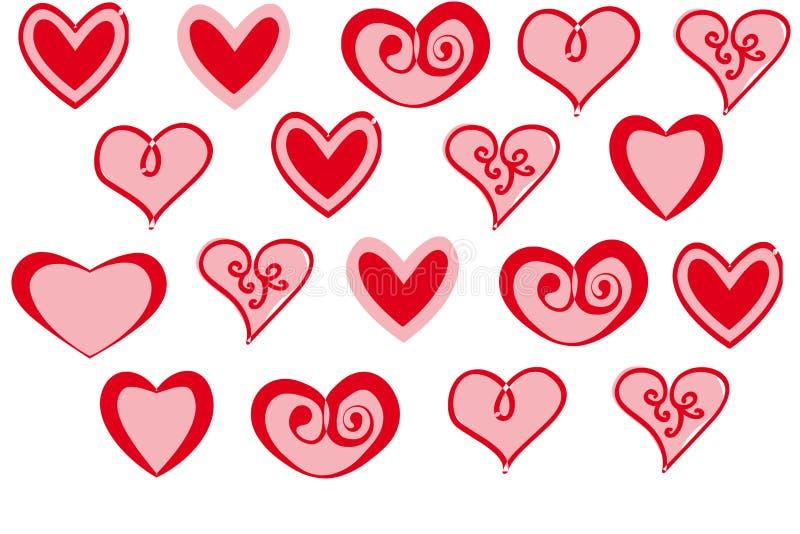 Vektoruppsättning av hjärtor för dag för valentin` s röda på vit bakgrund royaltyfri illustrationer