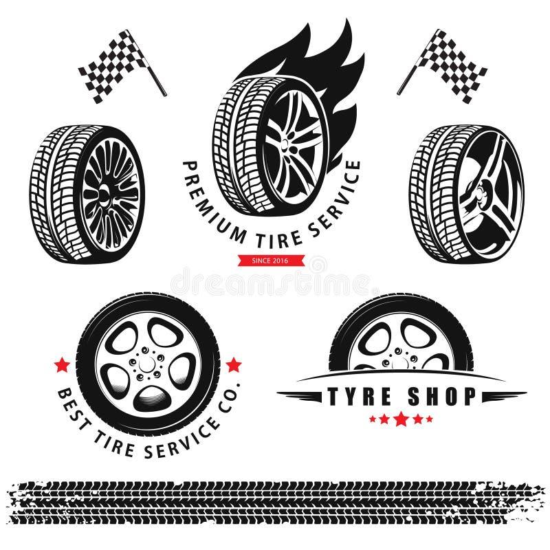 Vektoruppsättning av hjul, gummihjul och spår för bruk i symboler och logo vektor illustrationer