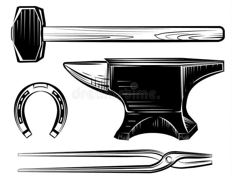 Vektoruppsättning av hovslagarehantverkstädet, hammare vektor illustrationer