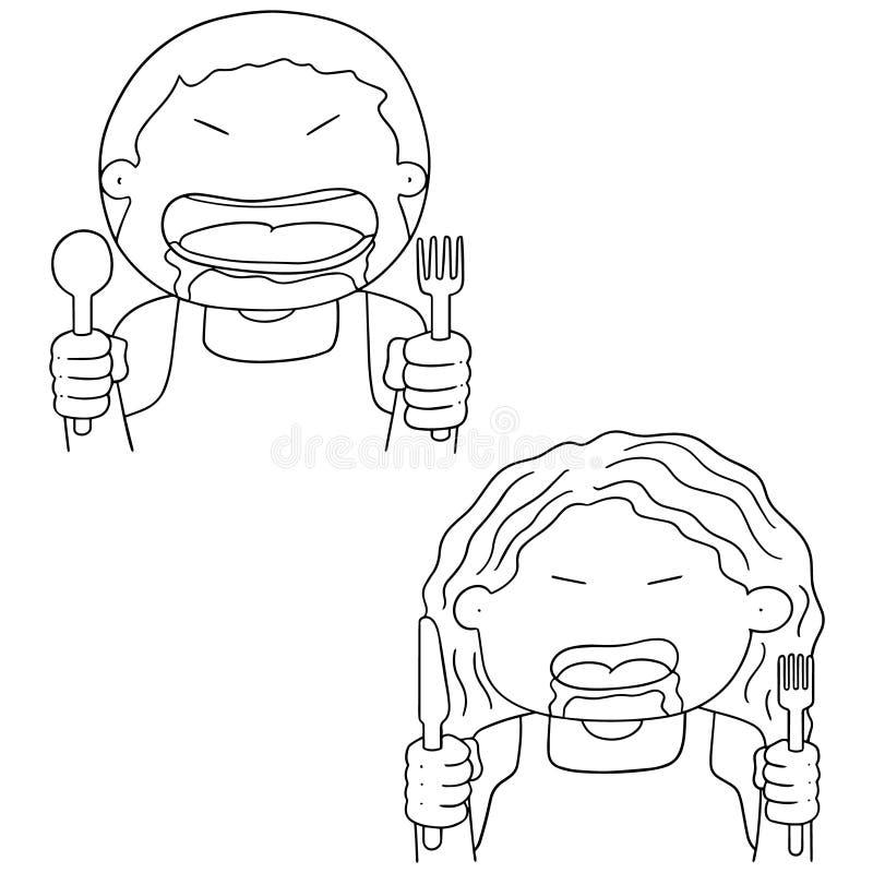 Vektoruppsättning av hungrigt folk vektor illustrationer