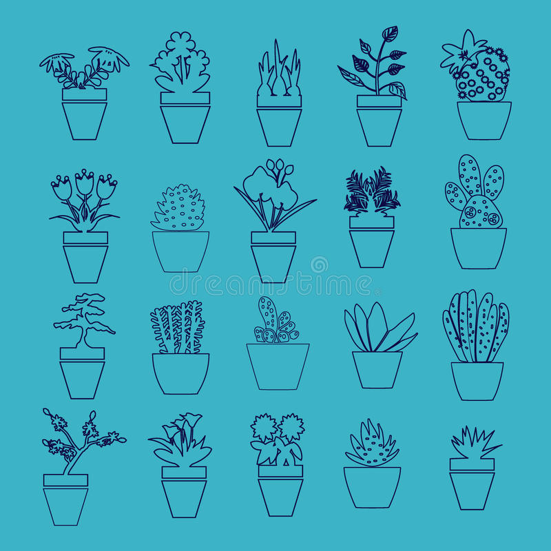 Vektoruppsättning av husväxter i krukor stock illustrationer