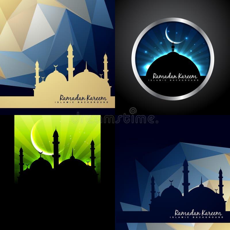 Vektoruppsättning av idérik bakgrund av eidfestivalen av muslimilluen royaltyfri illustrationer