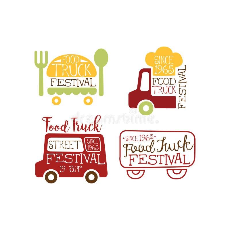 Vektoruppsättning av idérika emblem för matlastbilfestival Gata- och snabbmattema Design för advertizingreklamblad eller stock illustrationer