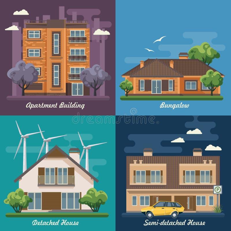 Vektoruppsättning av illustrationen med byggnader, småhus, halv-fristående hus, bungalow, herrgård, höghus stock illustrationer