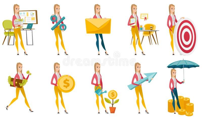 Vektoruppsättning av illustrationer med affärsfolk stock illustrationer