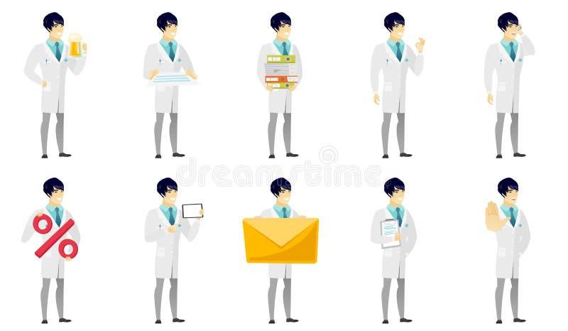 Vektoruppsättning av illustrationer med doktorstecken vektor illustrationer