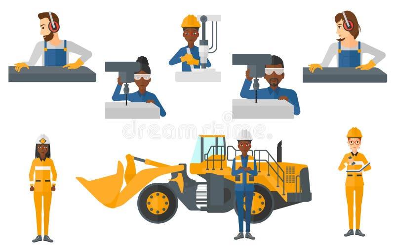Vektoruppsättning av industriarbetare royaltyfri illustrationer