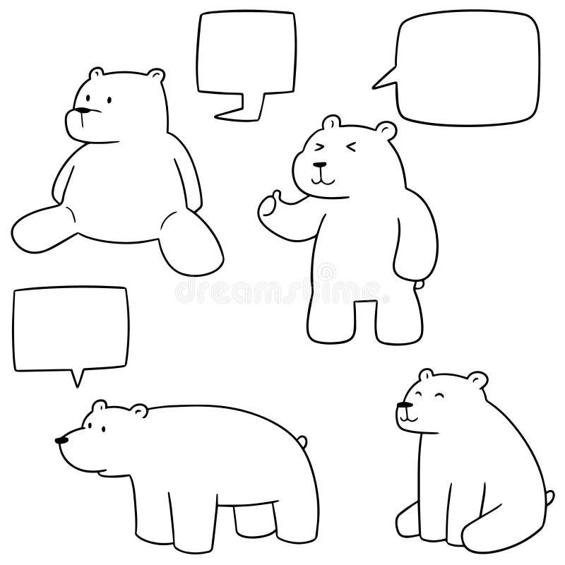 Vektoruppsättning av isbjörnen royaltyfri illustrationer