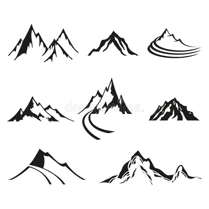 Vektoruppsättning av isolatlogoer av berg, svarta konturer på vit bakgrund stock illustrationer