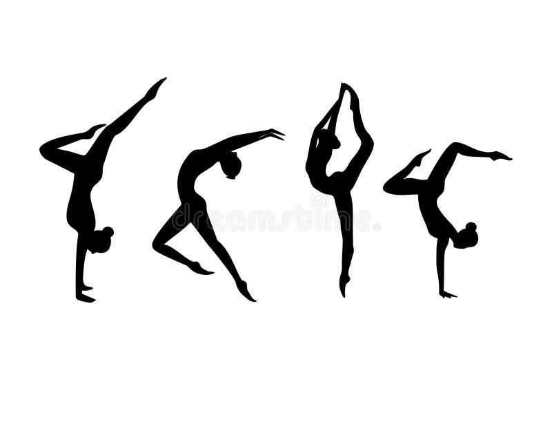 Vektoruppsättning av isolerade gymnastiska flickor för svart kontur royaltyfri illustrationer