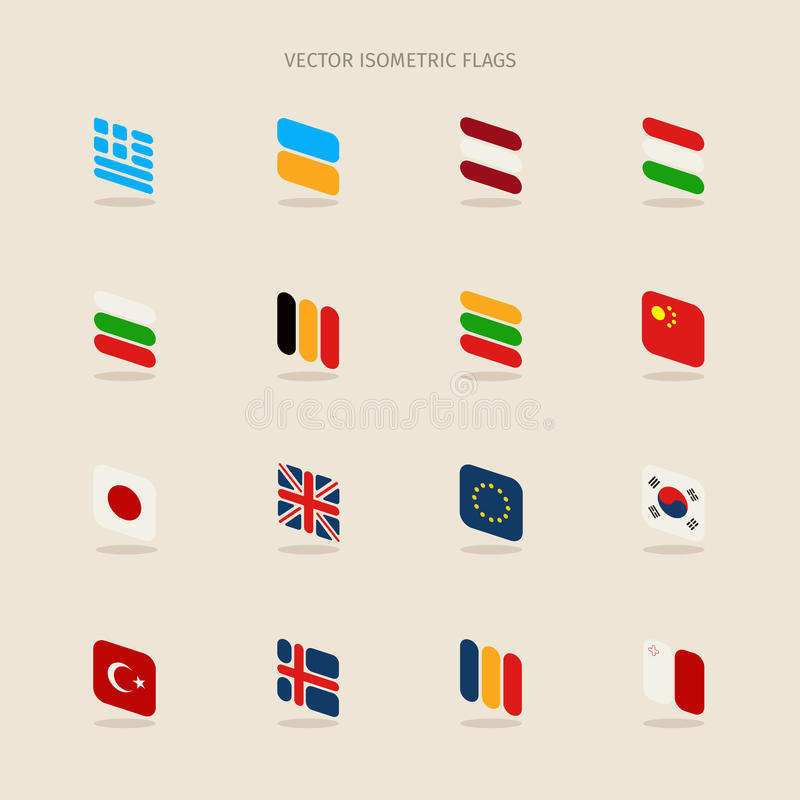 Vektoruppsättning av isometriska flaggor i enkel stil av europeisk union, royaltyfri illustrationer