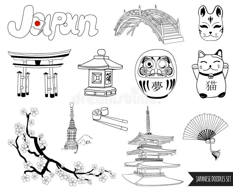 VEKTORuppsättning av japanska klotter översiktsteckningar stock illustrationer