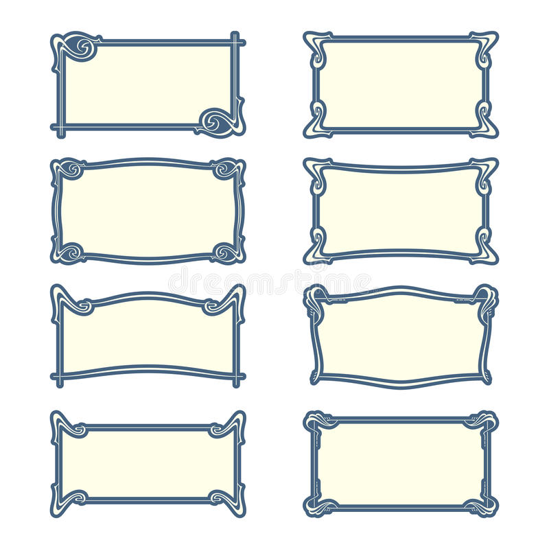 Vektoruppsättning av jugendstilramar för tryck och design royaltyfri illustrationer