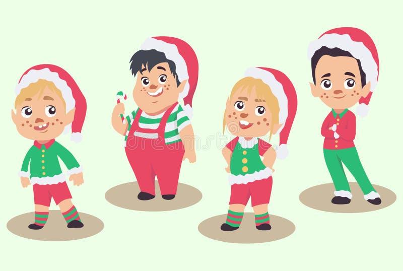 Vektoruppsättning av julälvor som isoleras på vit bakgrund stock illustrationer