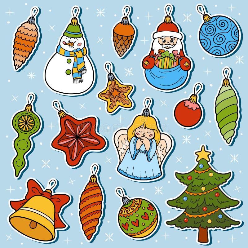 Vektoruppsättning av julgranleksaker royaltyfri illustrationer