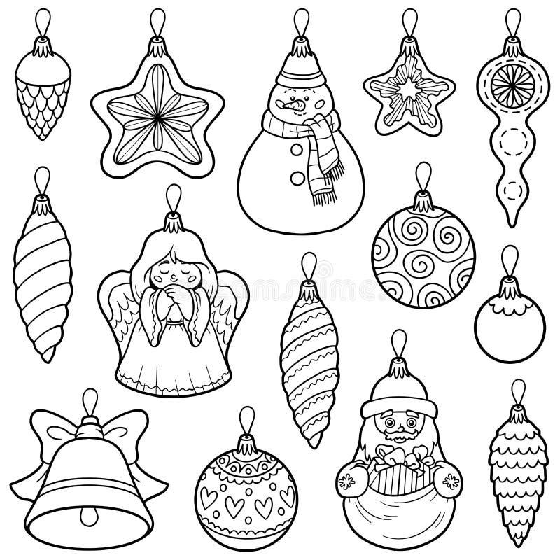 Vektoruppsättning av julgranleksaker vektor illustrationer