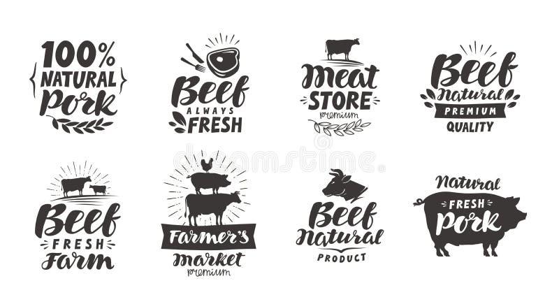 Vektoruppsättning av köttetiketter, emblem och symboler Samlingsbeståndsdelar för menydesign vektor illustrationer