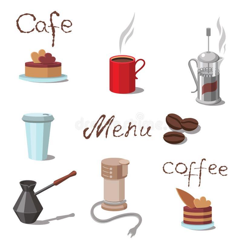 Vektoruppsättning av kaffesymboler vektor illustrationer