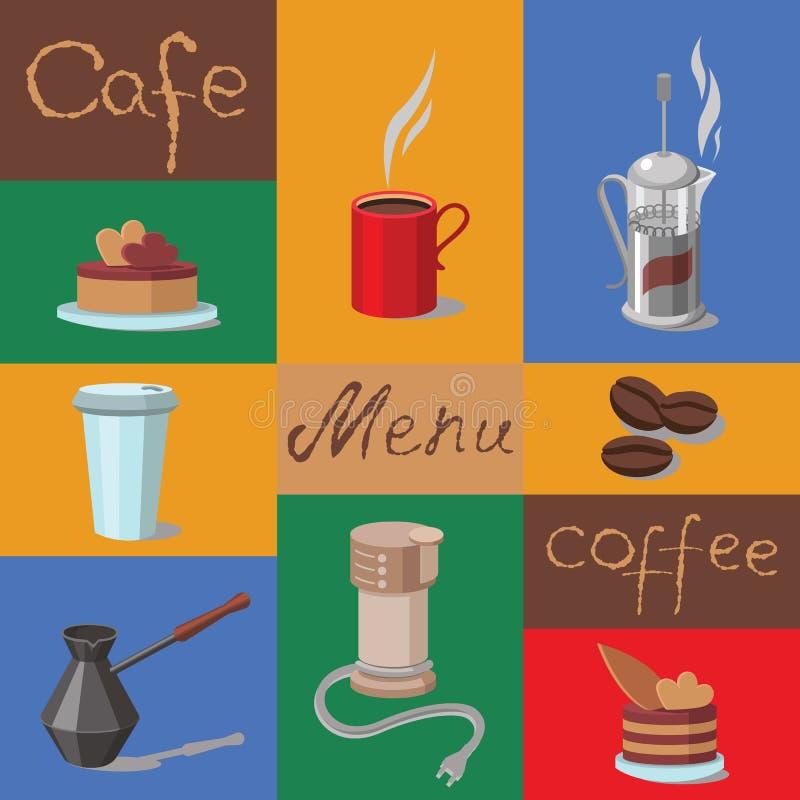 Vektoruppsättning av kaffesymboler royaltyfri illustrationer