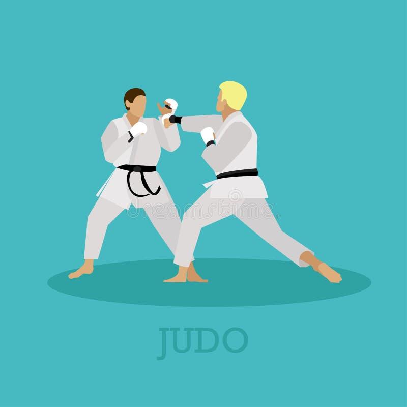 Vektoruppsättning av kampsportfolkkonturn Illustration för sportkämpepositioner vektor illustrationer