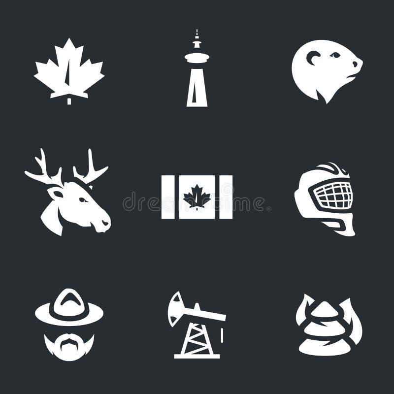 Vektoruppsättning av Kanada symbolsymboler royaltyfri illustrationer