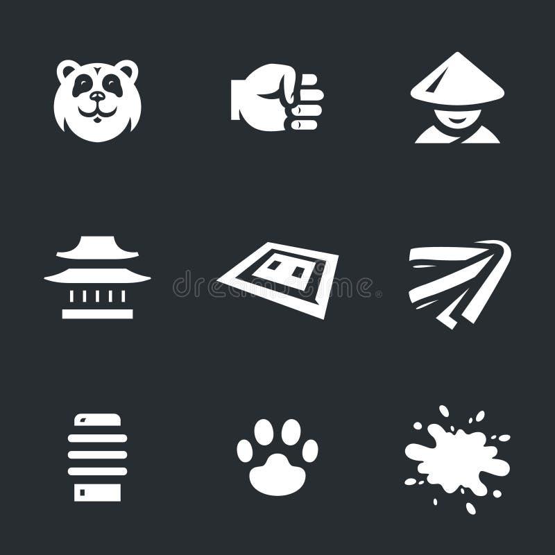 Vektoruppsättning av karatesymboler stock illustrationer