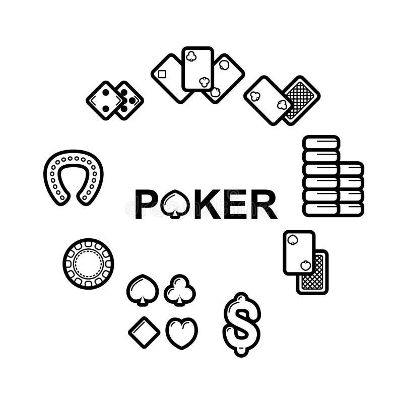 Vektoruppsättning av kasinosymboler stock illustrationer