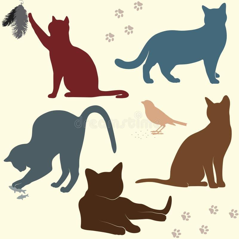 Vektoruppsättning av kattkonturer stock illustrationer