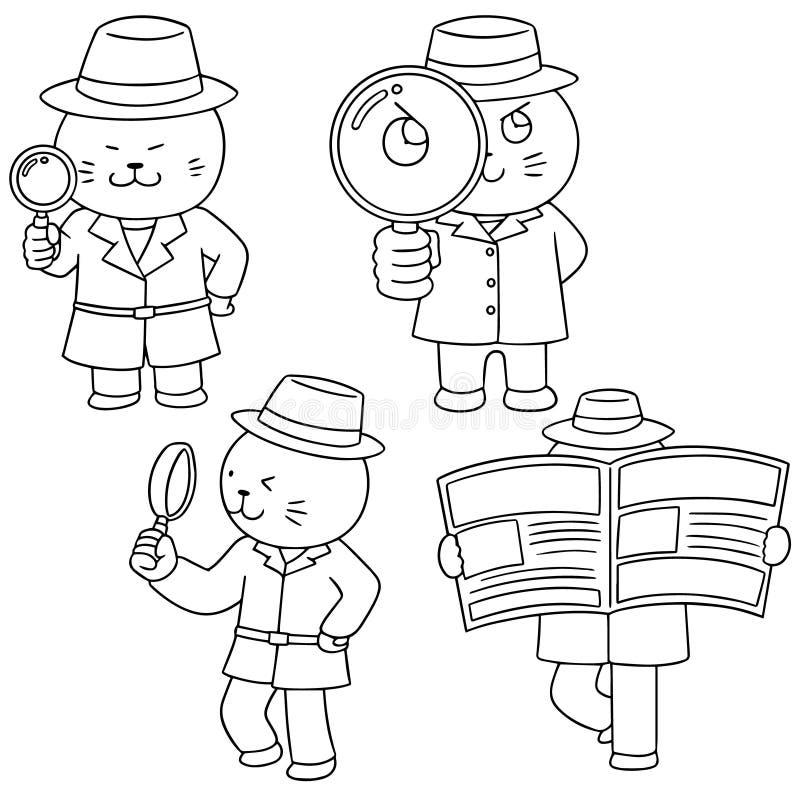 Vektoruppsättning av kattkriminalaren vektor illustrationer