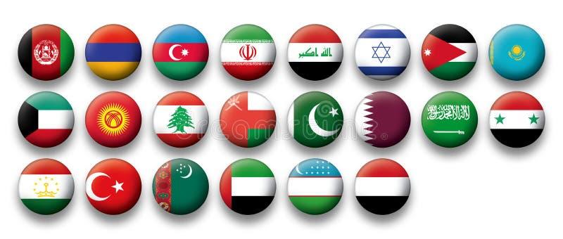 Vektoruppsättning av knappflaggor av Mellanösten royaltyfri illustrationer