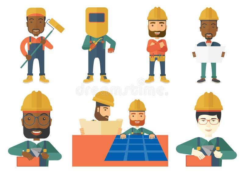 Vektoruppsättning av konstruktör- och byggmästaretecken vektor illustrationer