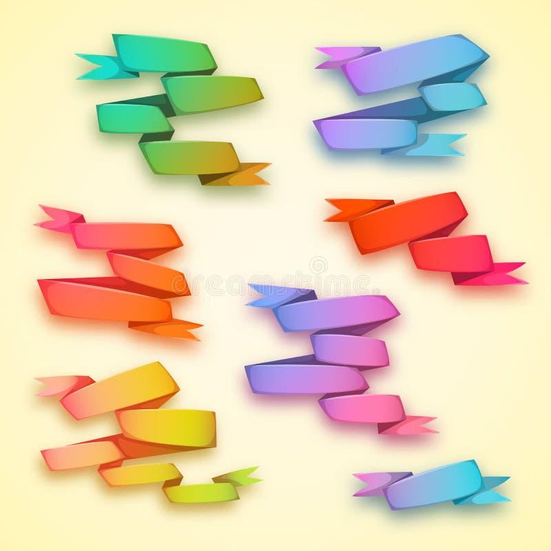 Vektoruppsättning av krökta baner för bandregnbågepapper royaltyfri illustrationer