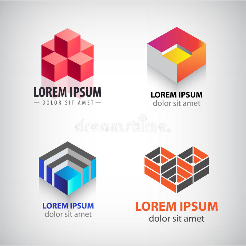 Vektoruppsättning av kuben 3d, logoer för geometrisk struktur Byggnad arkitektur, blockerar färgrika symboler vektor illustrationer