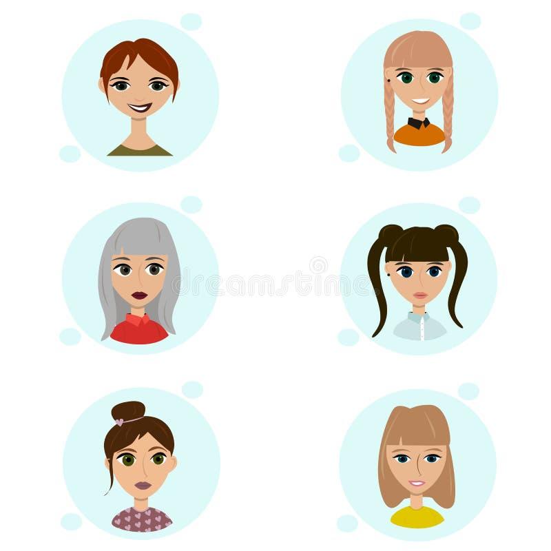 Vektoruppsättning av kvinnliga avatarsymboler Folkillustration, plant kvinnasamkvämmassmedia Tecknad filmtecken för rengöringsduk royaltyfri illustrationer