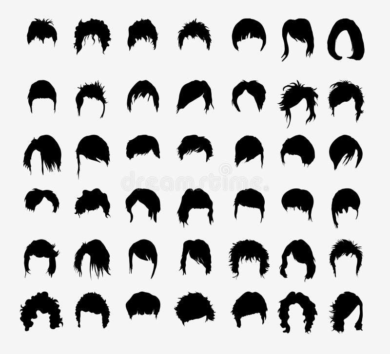 Vektoruppsättning av kvinnors frisyrer royaltyfri illustrationer