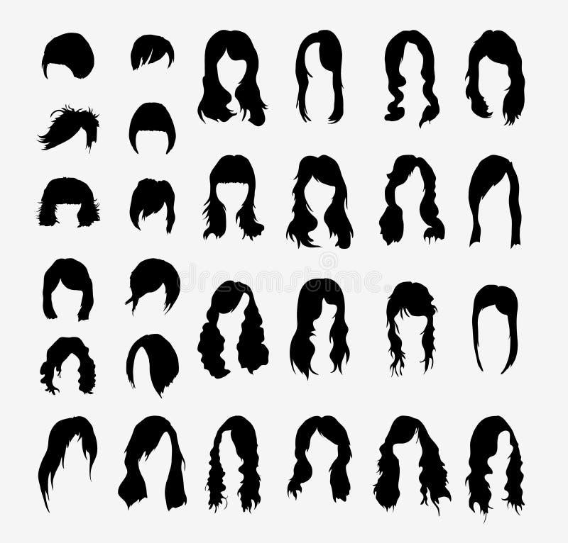Vektoruppsättning av kvinnors frisyrer stock illustrationer