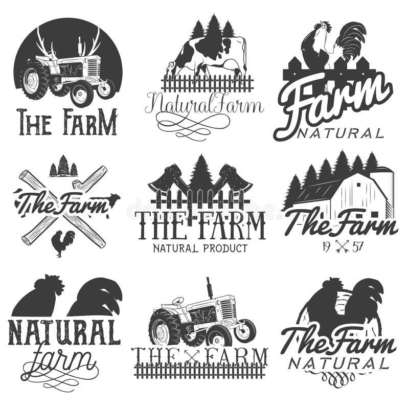 Vektoruppsättning av lantgårdetiketter Monokromma logoer, emblem, baner och emblem i tappning utformar isolerad knapphandillustra royaltyfri illustrationer